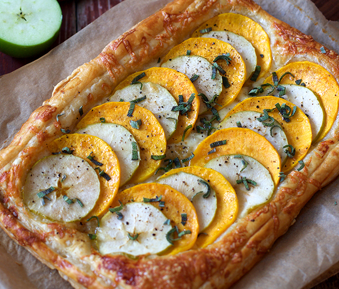 Butternut Squash, Apple and Gruyere Tart